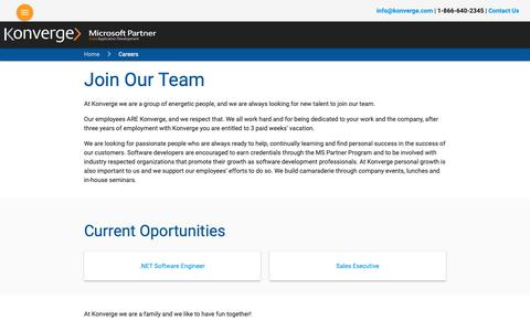 Screenshot of Jobs Page konverge.com - Custom Software Development Toronto, Custom Software Design | Konverge - captured Oct. 16, 2018