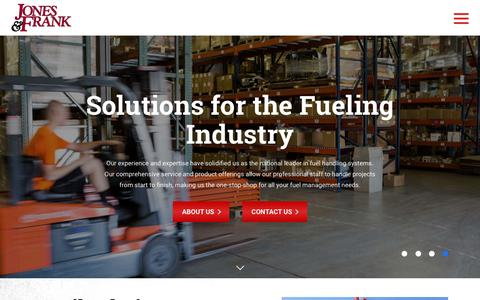 Screenshot of Home Page jones-frank.com - Jones & Frank | Solutions for the Fueling Industry - captured Nov. 6, 2018