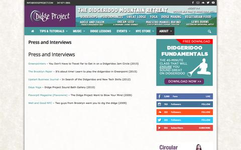 Screenshot of Press Page didgeproject.com - Press and Interviews - Didge Project - captured Aug. 2, 2016