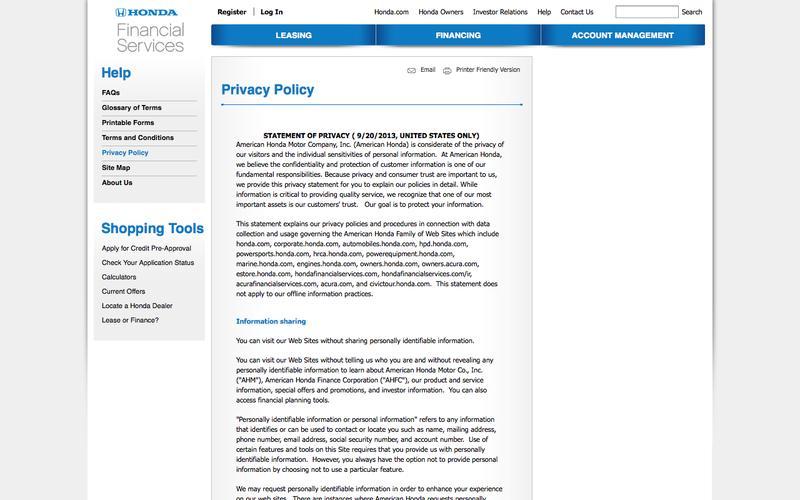 Hondafinancialservices Com Account Management >> Web Design Example A Page On Hondafinancialservices Com Crayon