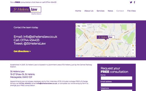 Screenshot of Contact Page sthelenslaw.co.uk - St Helens Law - Contact - captured Aug. 15, 2016