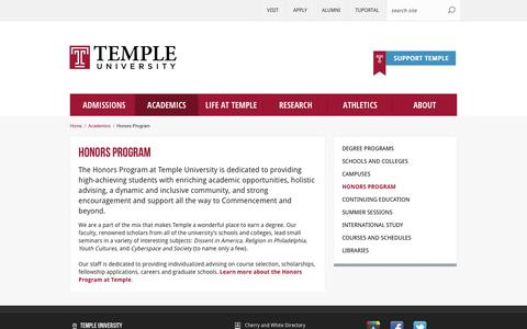 Honors Program | Temple University