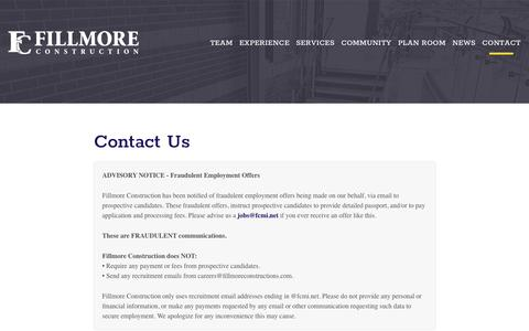 Screenshot of Contact Page fillmoreconstruction.com - Edmonton Alberta Construction Company | Fillmore Construction - captured Aug. 13, 2018