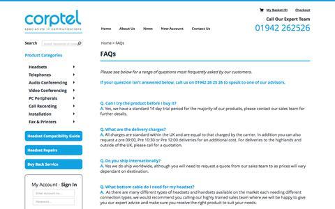 Screenshot of FAQ Page corpteluk.com - FAQs - captured July 16, 2016