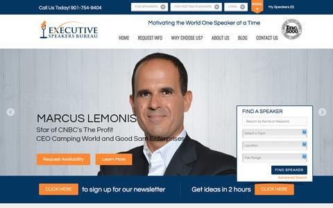 Screenshot of Home Page executivespeakers.com - Motivational Keynote Speakers Bureau | Top Keynote Speakers, Top Motivational Speakers - captured Sept. 19, 2017