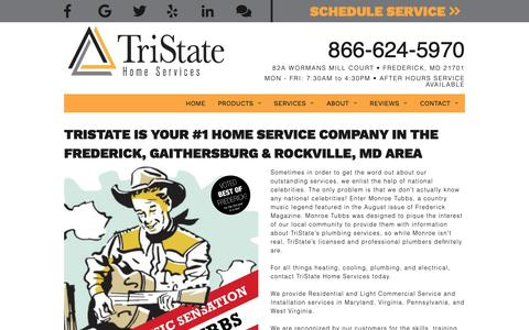 Screenshot of Home Page tristatehomeservices.com - Plumber, Electrician & Furnace Repair Service Frederick, MD | TriState Home Services - captured Oct. 20, 2018