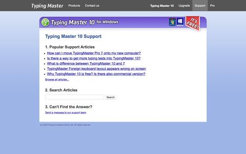 Screenshot of Support Page typingmaster.com - Typing Master 10 - Customer Support - captured Sept. 10, 2016