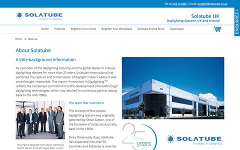 Screenshot of About Page solatube.co.uk - About Us - History, The Team & More | Solatube UK - captured Jan. 19, 2018