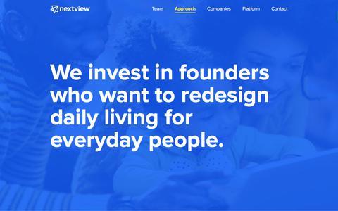 Screenshot of nextviewventures.com - Approach - NextView Ventures - captured Aug. 2, 2017