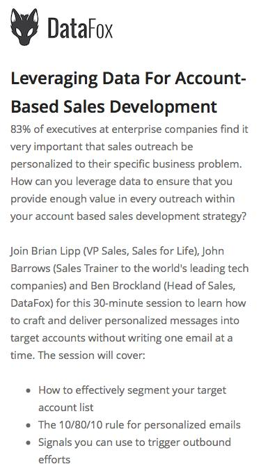 Screenshot of Landing Page  datafox.com - Leveraging Data For Account-Based Sales Development