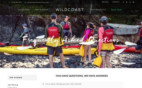 Screenshot of FAQ Page kayakbritishcolumbia.com - Frequently Asked Questions - Wildcoast Kayak Trips - captured Oct. 18, 2018