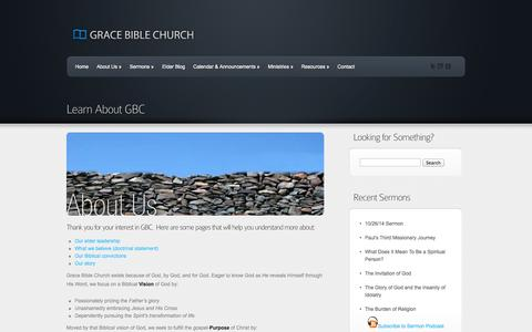 Screenshot of About Page gbcaz.org - Learn About GBC | Grace Bible Church - captured Oct. 27, 2014