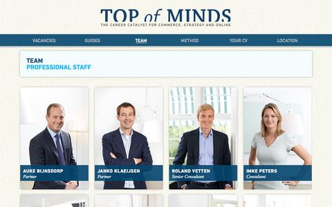 Screenshot of Team Page topofminds.com - Team | Top of Minds - captured Oct. 9, 2014