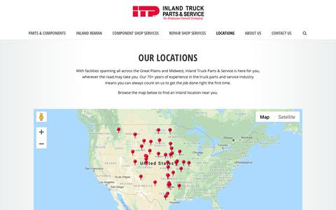 Screenshot of Locations Page inlandtruck.com - Truck Parts & Service Repair Shops | Inland Truck Parts & Service - captured Oct. 12, 2018