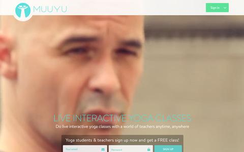 Screenshot of Home Page muuyu.com - Muuyu : Live Online Yoga Classes - captured Jan. 22, 2016