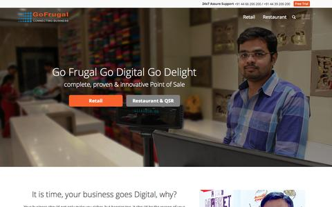 Screenshot of Home Page gofrugal.com - POS Software - GoFrugal Point of Sale software For Retail and Restaurant Businesses - captured Oct. 1, 2015
