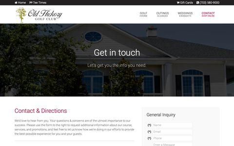Screenshot of Contact Page Maps & Directions Page golfoldhickory.com - Old Hickory Golf Club | Woodbridge, VA - Contact & Directions - captured Dec. 21, 2018