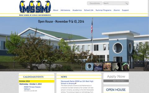 Screenshot of Home Page mssm.org - Maine School of Science and Mathematics - captured Oct. 1, 2014