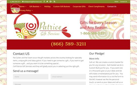 Screenshot of Contact Page patricegiftservices.com - Contact Us | Houston Gifts Baskets | Gourmet | Executive | Holiday - captured Nov. 1, 2019