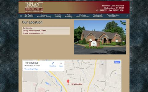 Screenshot of Maps & Directions Page tndentistry.com - Implant and General Dentistry Blog - captured Oct. 6, 2014