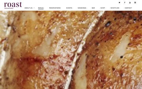 Screenshot of Menu Page roast-restaurant.com - Menu | Roast Restaurant - captured Jan. 25, 2016