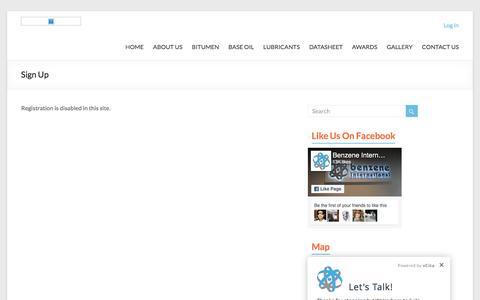 Screenshot of Signup Page benzeneinternational.com - Sign Up - Benzene International - captured Nov. 22, 2016