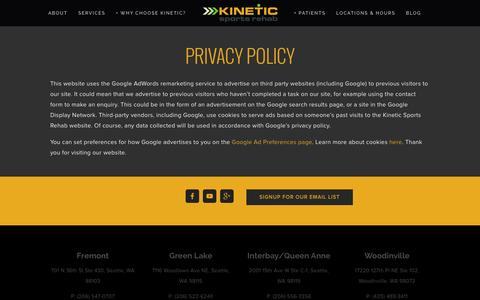 Screenshot of Privacy Page kineticsportsrehab.com - Privacy Policy - captured Jan. 9, 2016