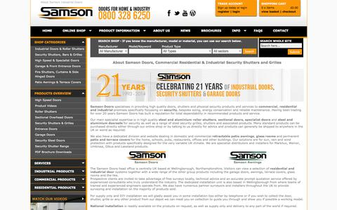 Screenshot of About Page samsondoors.co.uk - About Samson Doors - Security Grilles and Shutters - Commercial, Residential Doors Supplier UK - captured Oct. 4, 2014