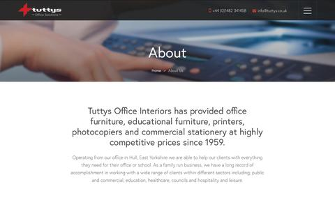 Screenshot of About Page tuttys.co.uk - About Tuttys | Quality Office Furniture in Hull, Lincolnshire and East Yorkshire - captured May 30, 2019