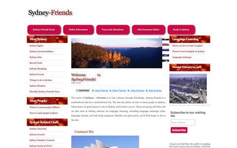 Screenshot of Home Page sydney-friends.com - Sydney Friends - captured Feb. 22, 2016