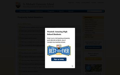 Screenshot of FAQ Page smus.ca - Frequently Asked Questions | SMUS Boarding School - captured Dec. 17, 2018
