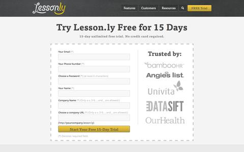 Screenshot of Signup Page Trial Page lesson.ly - Sign Up - Lesson.ly - captured Oct. 22, 2014