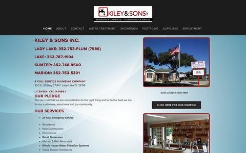 Screenshot of Home Page centralfloridaplumber.com - Kiley & Sons, Inc. A Full Service Plumbing Company - captured Nov. 27, 2016