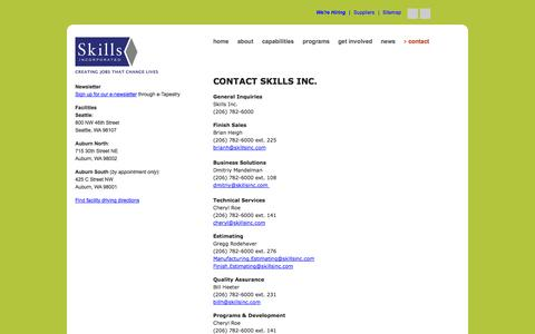 Screenshot of Contact Page skillsinc.com - Skills Inc. | Contact Us - captured Sept. 30, 2014