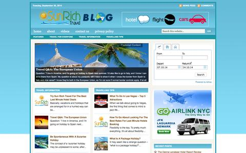 Screenshot of Blog sunrichtravel.com - Last Minute Hotels Deals : Sun Rich Travel - captured Sept. 30, 2014