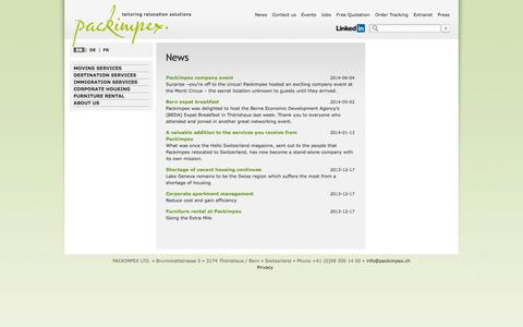 Screenshot of Press Page packimpex.ch - News- Packimpex Ltd. - captured Oct. 1, 2014