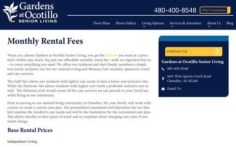 Screenshot of Pricing Page spectrumretirement.com - Monthly Rental Pricing   Gardens at Ocotillo Senior Living - captured Oct. 23, 2018