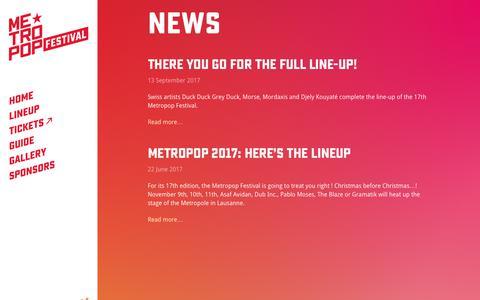 Screenshot of Press Page metropop.ch - News · Metropop Festival - captured Oct. 18, 2017