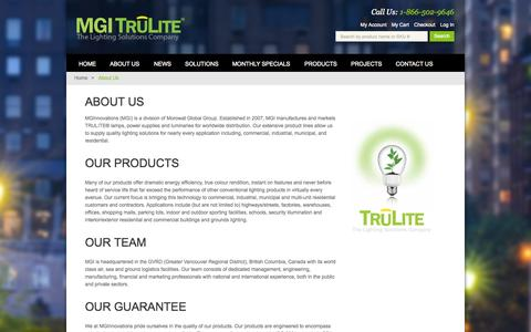 Screenshot of About Page mgitrulite.com - About Us | MGI Trulite - captured Oct. 7, 2014