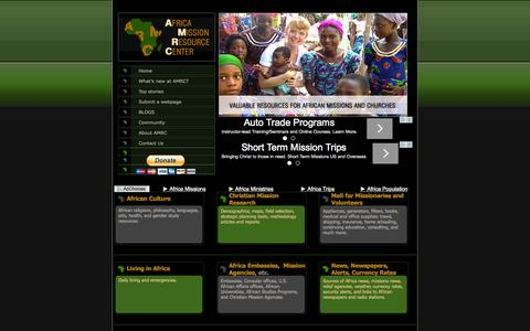 Screenshot of Home Page africamissions.org - Africa Missions Recource Center: Africa Christian Missions, Missionaries, Volunteer, African Churches and Mission Trip Resources - captured Sept. 10, 2015