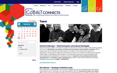 Screenshot of Team Page cobaltconnects.ca - Team | CoBALT Connects - captured Sept. 30, 2014