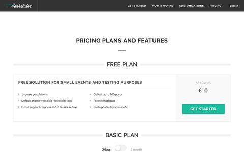Screenshot of Pricing Page hashslider.com - Hashslider: Pricing Plans and Features - captured Feb. 7, 2018