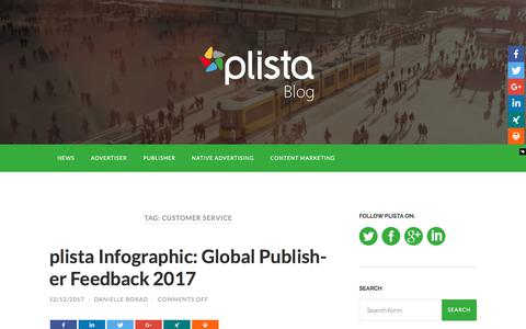 Screenshot of Support Page plista.com - customer service Archives | plista Blog - captured April 13, 2018