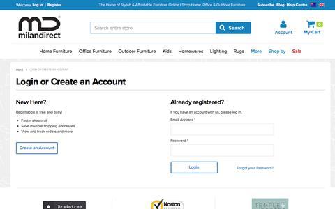 Screenshot of Login Page milandirect.com.au - Customer Login - captured Aug. 22, 2016