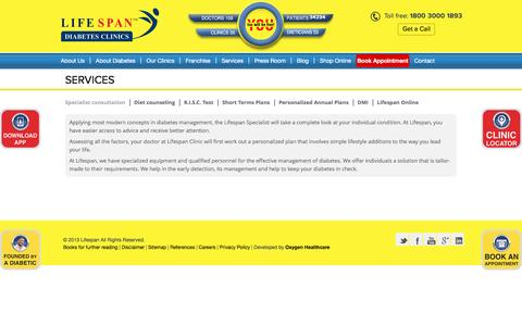Screenshot of Services Page lifespanindia.com - LIFESPAN - Diabetes clinic, diabetes clinic Mumbai, diabetes clinic India - captured July 14, 2016