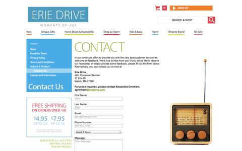 Screenshot of Contact Page eriedrive.com - Contact Us  | Erie Drive - captured Sept. 26, 2014