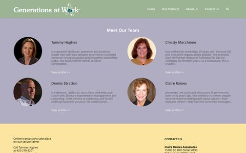 Screenshot of Team Page generationsatwork.com - Generations at Work - Website of Claire Raines Associates - Generations at Work: human resource management, generation and diversity, generation definition, Claire Raines - captured Jan. 27, 2016
