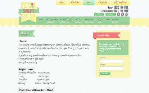 Screenshot of Hours Page onesweetslice.com - One Sweet Slice Bakery Hours | Sandy | South Jordan - captured Oct. 7, 2014