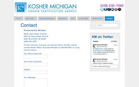 Screenshot of Contact Page koshermichigan.com - Contact - Kosher Michigan - Kosher Certification Agency - captured Sept. 30, 2014