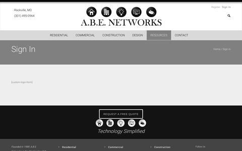 Screenshot of Login Page abenetworks.com - Sign In - ABE Networks - captured Dec. 9, 2018